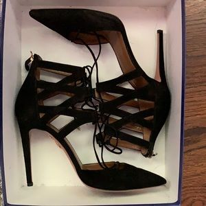 Black suede heels by Aquazzura. Only worn once!